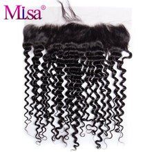 Mi Lisa 13''x4'' Lace Frontal Closure With Baby Hair 10-20 inche Remy Hair 100% Human Hair Deep Curly Hair Hand Tied Swiss Lace(China)
