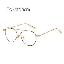 306629a5fe8 Toketorism pilot style metal frame vintage double bridge eyewear frames men  women clear lenses 1181