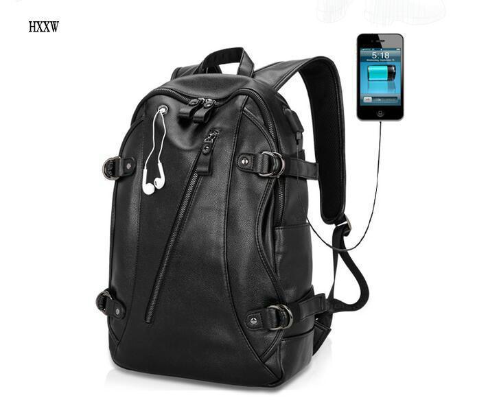 Men Business Casual Backpacks for School Travel Bag Black PU Leather Mens Fashion Shoulder Bags Vintage Boys Men Backpack H308<br>