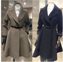 free shipping 2015 winter wool coat female high-end custom waist long coat coat woolen coat girl(China)