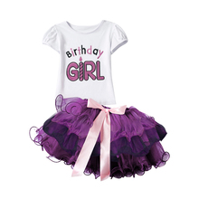 Newborn Baby Girl Birthday Outfits Baby Clothing Sets T-shirt+Tutu Skirt Suits Baby Christening Gift Sets For 1 2 Years Toddler