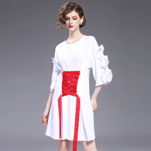 High Quality European Street Dress New 2017 Women Summer Fashion Ruffles Sleeve Red Designer Lacing Loose White Novelty Dress