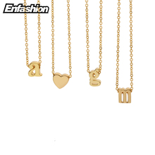 Enfashion Small Letter Necklaces Pendants Alphabet Initial Necklace Gold Color Choker Necklace For Women Jewelry Kolye Collier(China)