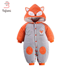 Baby Snowsuit Cute Fox Baby Snow Wear Winter Rompers Newborn Snowsuits jacket for girls boy Cotton Outerwear & Coats romper(China)