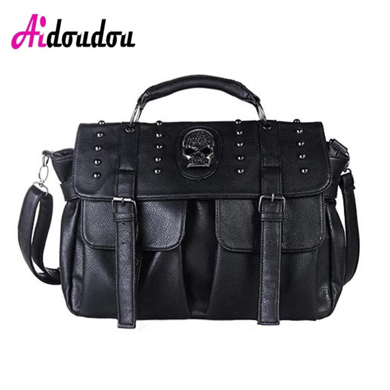 Motorcycle Punk Style Skull Rivet Tote Bag Crossbody Bags for Ladies 2017 Women Messenger Bags Designer Leather HandBags<br>