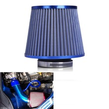 "For Turbo Racing - Harbll Air Filter Auto Vehicle Car Cold Air Intake Filter Cleaner 3"" 76mm Dual Funnel Adapter - Blue Color(China)"