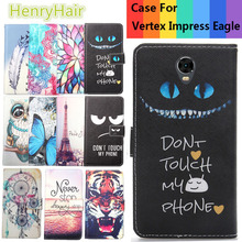 Top Selling 11 Colors Cartoon Painting PU Leather Magnetic clasp Wallet Cover For Vertex Impress Eagle Case