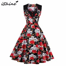 iShine Audrey Hepburn skull printed floral rockabilly pin up dresses elegant women vintage sleeveless retro plus size vestidos(China)