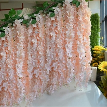 Wholesale 10pcs Rattan Strip Wisteria Artificial Flower Vine For Wedding Home Party Kids Room Decoration DIY Craft Fake Flowers(China)