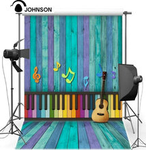 Vinyl cloth wall Children kids photo backdrop High quality Spray Painted Purple Blue Piano Music Guitar Wood background