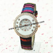 HL-A776 Fashion National Style Fabric Woman Watches Rainbow Stripes Woman Dress Wrist Watches Women Rhinestone Quartz Watch(China)