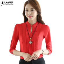 Autumn New elegant red white shirt women's V-Neck Hollow Out long sleeve chiffon blouse office ladies plus size work wear tops