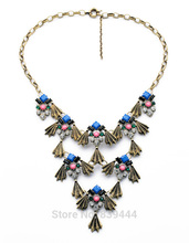 Hot Sales Jewelry New Arrival Multi Finish Costume Match Women Elegant Antique Gold Color Statement Necklace(China)