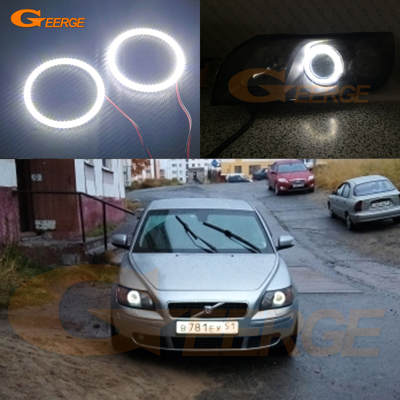 For Volvo S40 V50 2004 2005 2006 2007 projector lens Excellent DRL Ultra bright illumination smd led Angel Eyes kit halo ring<br>
