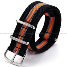 New 20mm Black Grey Orange Pattern Nylon Canvas Fabric Stainless Steel Buckle Boy Men's Sport Quartz Wrist Watch Band / WB2009(China)