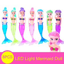 8PCS Anna Elsa Princess Swimming Mermaid Doll With Led Light Girl's Toy Lovely Ariel Sereia Mermaid Dolls For Girl Gift(China)