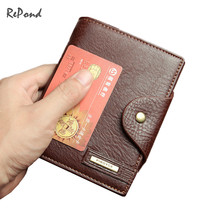 Genuine Leather Medium Long Men's Soft Vertical Hasp Wallet Portable Cash Purse Clips Top Brand Card Holder Carteiras Masculina