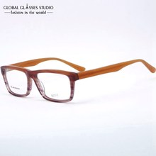 New High Quality Square Lens Demi Brown to Purple Gradient Color Acetate Optical Glasses Frame Flex Hinge GG3517