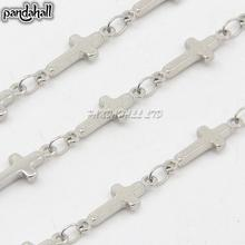 316 Stainless Steel Link Chains, Decorative Chain, with Cross Connector, Stainless Steel Color, 5mm