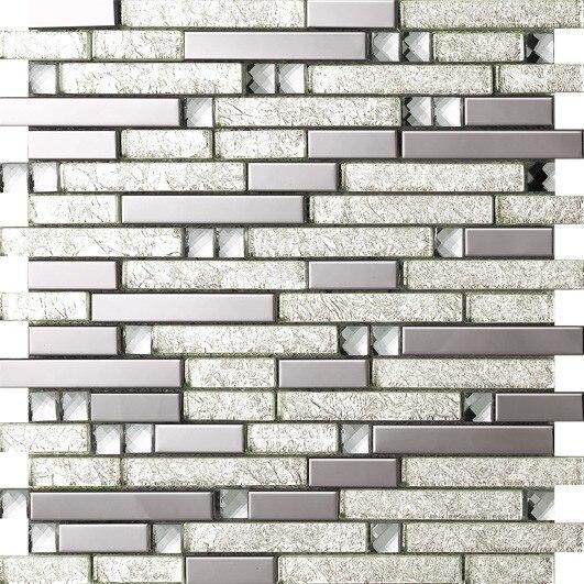 Silver foil Crystal Glass Metal Kitchen Backsplash,Bathroom,living room,Home wall decor mosaic tiles,Border DIY mosaic,SA047-17<br>