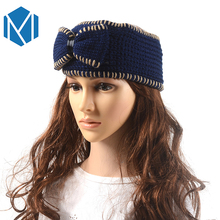 M MISM 2017 1pc Solid Bow Headbands Big Bow-knot Fish Shape Winter Warm Knit Crochet Turban Stretch Hair Accessories for Women(China)