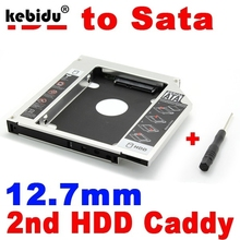 kebiduNew 2nd HDD 12.7mm Caddy IDE to SATA Hard Disk Drive SSD Aluminum Case Enclosure CD DVD-ROM Optical Bay Adapter for Laptop