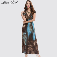Liva Girl 2017 New Fashion Beach Dress Leopard Dress Bohemian Mopping Large Size Ice Silk Dresses Women Spring And Summer