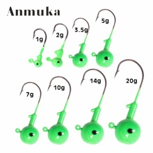 Anmuka Jig Head Hooks Eye 1g 2g 3.5g 5g 7g 10g 14g 20g Noctilucous Fishing Lead Lures Headed Hook Jigging Bait Fishing Tackle