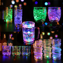 2017 New Frame LED Inductive Rainbow Color Flashing Light Glow Plastic Party Beer Cup Gift Drinkware(China)