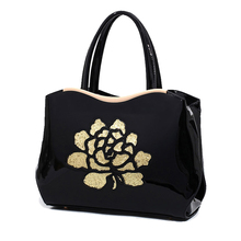 Luxury Patent Leather Women Handbags Floral Bag Designer High Quality Women's Tote Bags Sequins Sac a Main Femme De Marque Luxe(China)