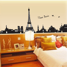 AY935 I love paris wall sticker eiffel tower home decor black adhesive france paris decal landscape mural large removable vinyl(China)