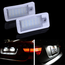 2Pcs Car LED License Plate Lights 12V SMD3528 Number Plate Lamp Bulb Kit For Audi A3 S3 A4 S4 B6 B7 A6 C6 S6 A8 S8 RS4 RS6 Q7