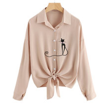 Mikialong Autumn Cat Embroidery Blouse Women Casual Long Sleeve Striped Shirt White Yellow Blusas Femininas 2017 Chemise Femme(China)