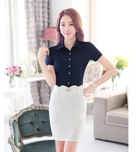 Summer Fashion Women Business Suits Formal Office Suits Work Skirt and Blouse Sets Tops Ladies Office Uniform Style OL