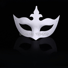 White Hand-painted masks Half Face Mask Halloween blank paper DIY Hip-Hop mask street dancing Christmas gifts free shipping(China)
