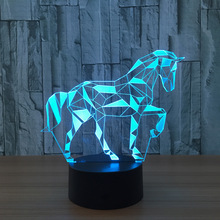 7 Color Horse Lamp 3D Visual Led Night Lights for Kids Touch USB Table Lampara Lampe Baby Sleeping Nightlight Star Light