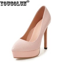 YOUGOLUN - women Pink High Heels 13cm Pumps Thin Heel Party Shoes Pointed toe #Y-058