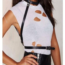 harness cool collar around neck adjustable buckles waist belts Leather HARNESS sexy women Dark Rock street strap body(China)