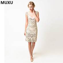 MUXU Fashion Women embroidery patchwork sexy sequin Dress Club Wear Summer Elegant Vintage gold dress Cocktail Party Dress party