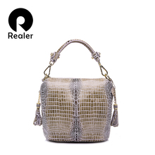 REALER brand genuine leather handbag women small tote bag tassel shoulder bags female serpentine pattern leather bucket bag