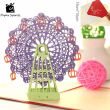 Kawaii Handmade 3D Ferris Wheel Origami 3D pop up paper laser cut vintage post cards greeting cards happy Birthday Gifts kraft(China)