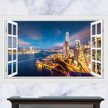 3d modern city wall pictures for living room removable pvc wall stickers adhesive office wall decals