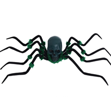 Halloween Sound Control Creepy Plush Spider Electric Giant Spider Fuzzy Crawler with Skull Head(China)