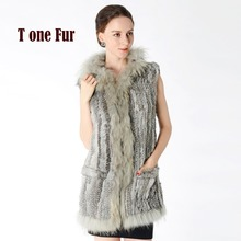 2017 New Real Knitted Rabbit Fur Vest with Natural Raccoon Fur Collar and Hood Women Genuine Fur Gilet KNT797
