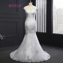 HVVLF Vestido De Noiva 2017 Designer Wedding Dresses Mermaid Cap Sleeves Appliques Lace Vintage Wedding Gown Bridal Dresses(China)