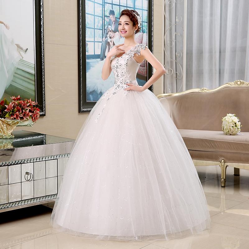 Its Yiiya V Neck Sequins Sleeveless Wedding Dresses Simple Cheap