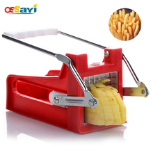 French Fry Cutter Chip Maker Stainless Steel Blade Top Quality Potato Vegetable Slicer 2 Blades Easy Cleaning Kitchen Tools
