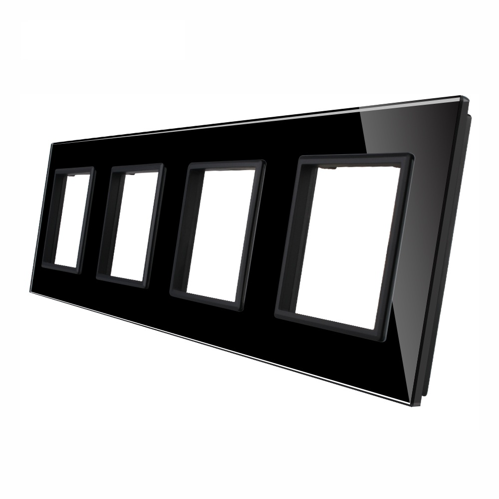 Luxury Black Pearl Crystal Glass, 293mm*80mm, EU standard, Quadruple Glass Panel For DIY Wall Switch&amp;Socket<br>