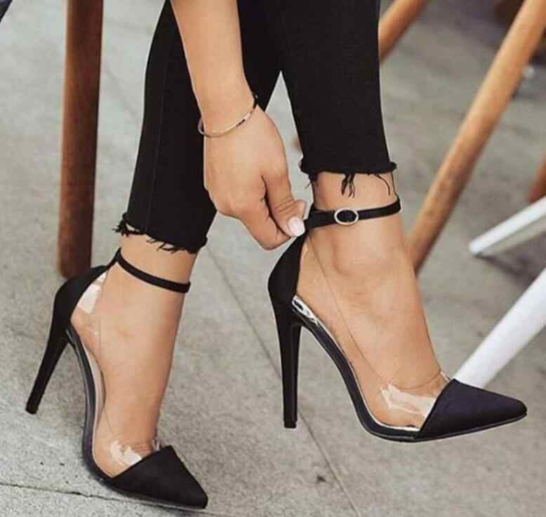 zapatos mujer thin high heels ankle buckle women pump ladies wedding shoes  woman sapato jelly clear 9aae43d32b0f