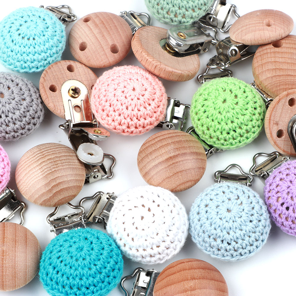 DIY Wooden Baby pacifier chain Crochet Round beads Baby pacifier Clips Cases